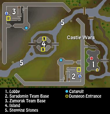Map of key Castle Wars locations