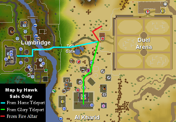 Different routes to the Duel Arena