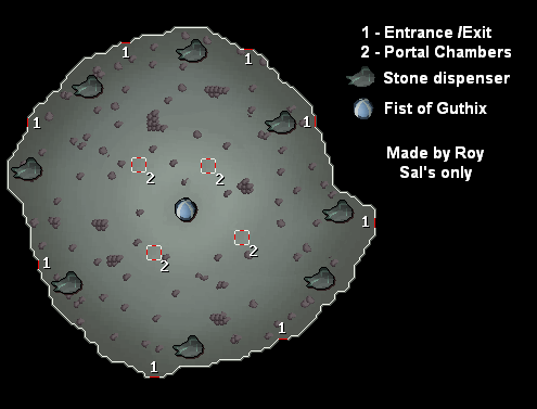 A map of the main fist of guthix arena