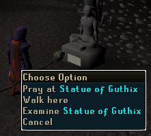 Pray at Statue of Guthix