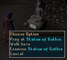 Pray at Statue of Guthix