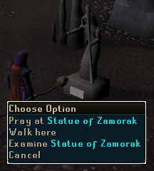 Pray at Statue of Zamorak