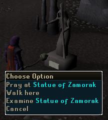 Pray at Statue of Zamorak