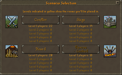 Scenario Selection screen