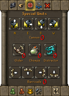 Special Units menu options