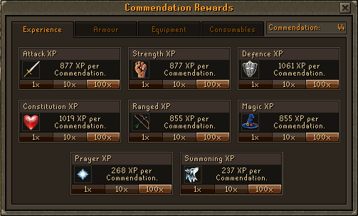Void Knight's Experience Rewards Options