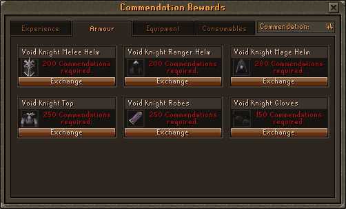 Void Knight's Equipment Rewards Options