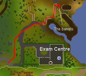 Map from the exam centre to the barrels