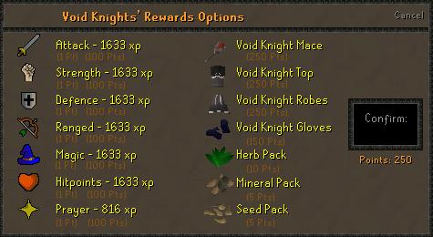 Void Knight's Rewards Options