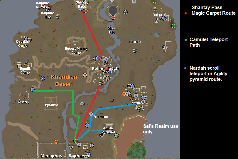 A map of routes to the pyramid plunder game