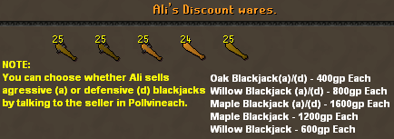 Ali's discount wares [blackjacks]