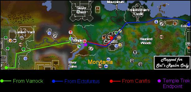 Routes to the Temple Trekking mini-game