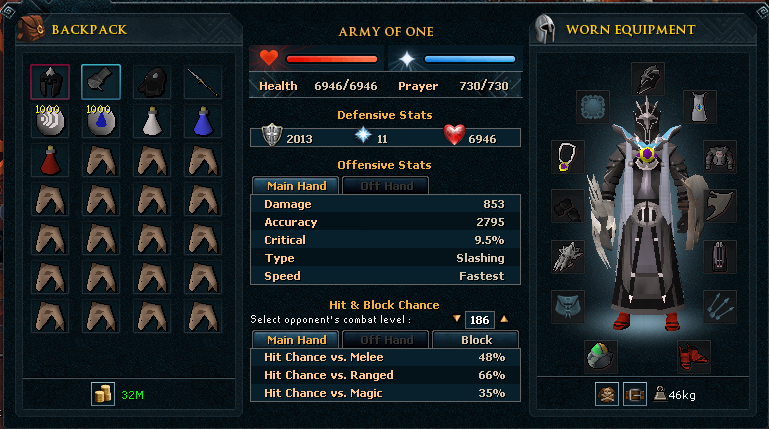 Example inventory and equipment