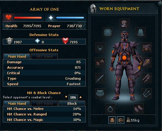 Obsidian melee armour