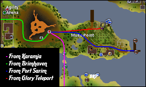 Routes to the TzHaar Fight Caves