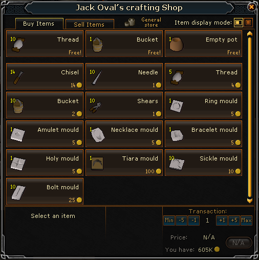 Jack Oval's crafting shop