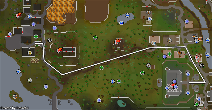 Route from lumbridge to draynor village