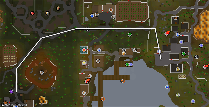 Route from the house teleport portal in Rimmington to Draynor Village