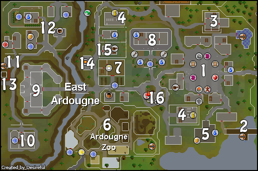 Map of East Ardougne attractions