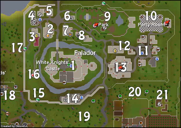 A map of Falador - click on a number to read about it.