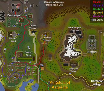 Map of routes to Goblin Village