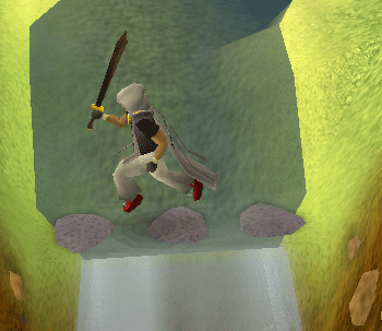 Jumping across the waterfall