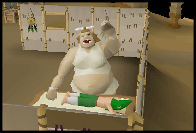 A gnome getting a massage in the Oo'glog salon