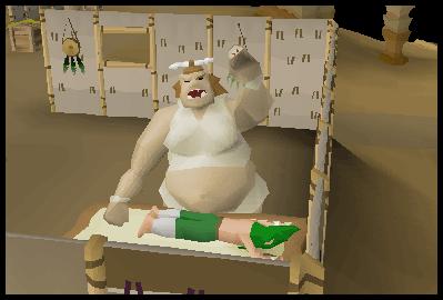 A gnome getting a massage in the Oo'glog salon
