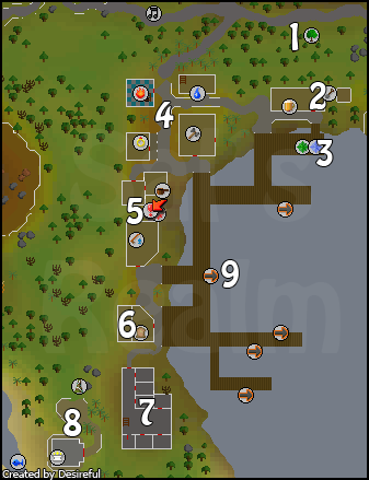 Map of port sarim - click on a number to read about it.