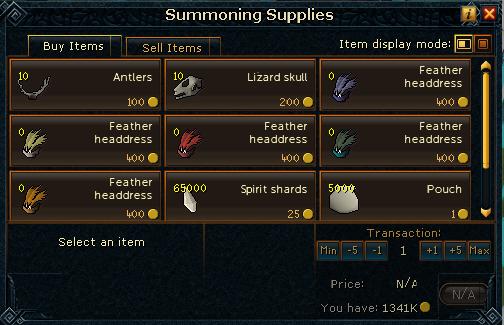 Summoning supplies
