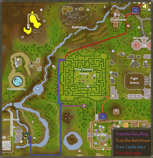 A map of routes to the Tree Gnome Village