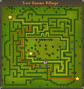 A map of navigating through the tree gnome village maze
