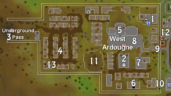 A map of West Ardougne
