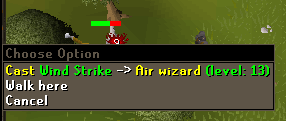 Cast wind strike on air wizard