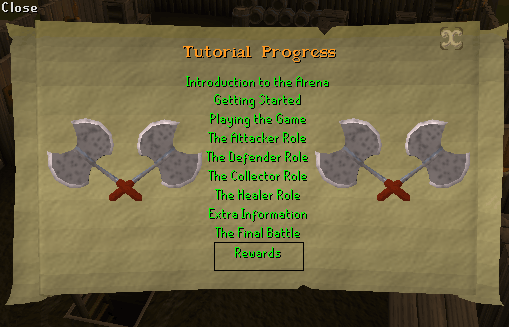 The barbarian assault tutorial progress screen