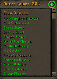 Click the green symbol  on the quests menu