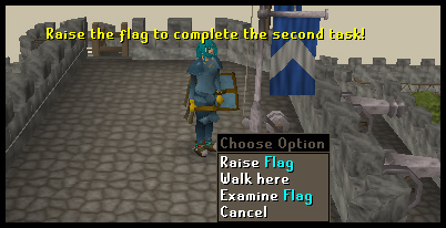 Raising the castle flag