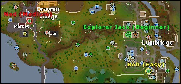 Locations of Explorer jack, ned, and bob