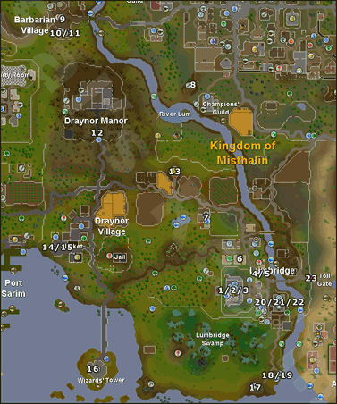 Map of beginner task locations