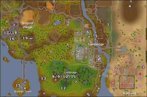 Map of easy task locations
