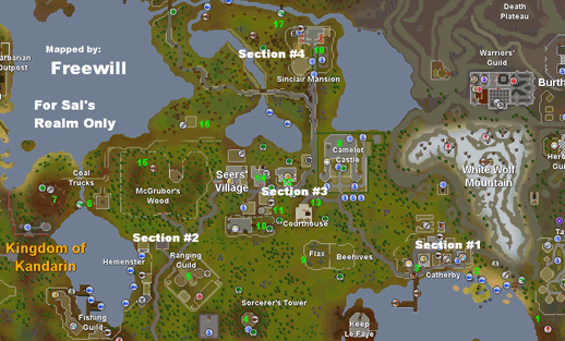 Map of general task locations