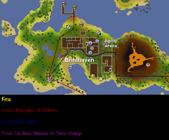 Routes to the brimhaven dungeon