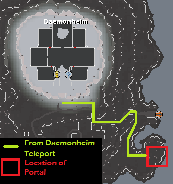 Daemonheim Peninsula Resource Dungeon - Map of routes to the Daemonheim Peninsula Resource Dungeon