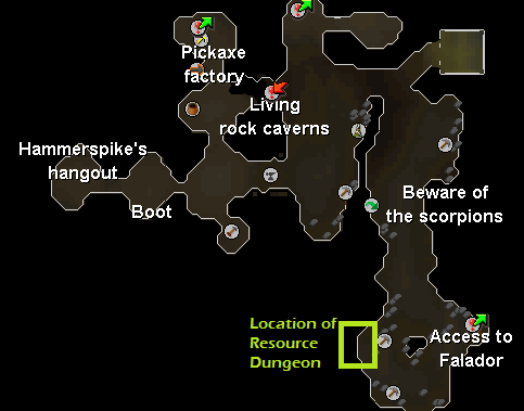 Dwarven Mines Resource Dungeon - Map of the location of the portal entrance to the Dwarven Mines Resource Dungeon