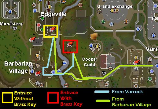 Edgeville Dungeon Hill Giants Resource Dungeon - Map of routes to the Edgeville Dungeon Hill Giants Resource Dungeon