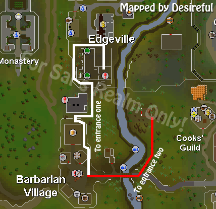Route from the teleport location