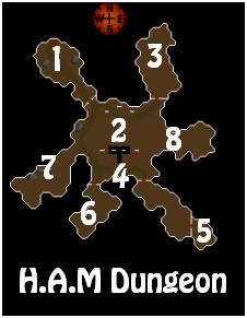 A map of the H.A.M. Dungeon