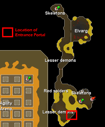 Karamja Volcano Resource Dungeon - Map of the Karamja Volcano Resource Dungeon entrance portal
