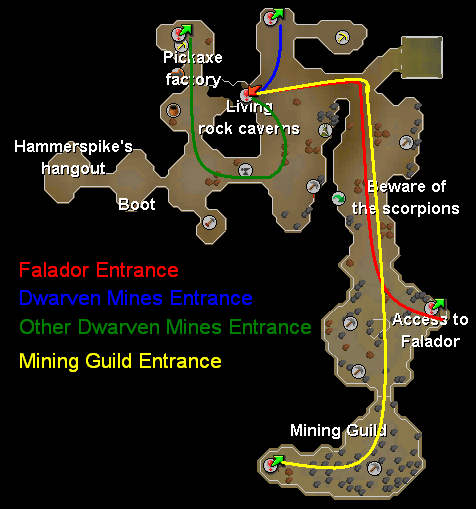 Routes from Dwarven Mines entrances to the Living Rock Caverns entrance