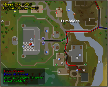 Map of routes to the entrance of the Lumbridge Catacombs